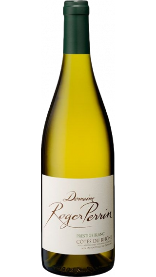 Bottle of Domaine Roger Perrin Cotes du Rhone Prestige Blanc 2019 wine 750 ml